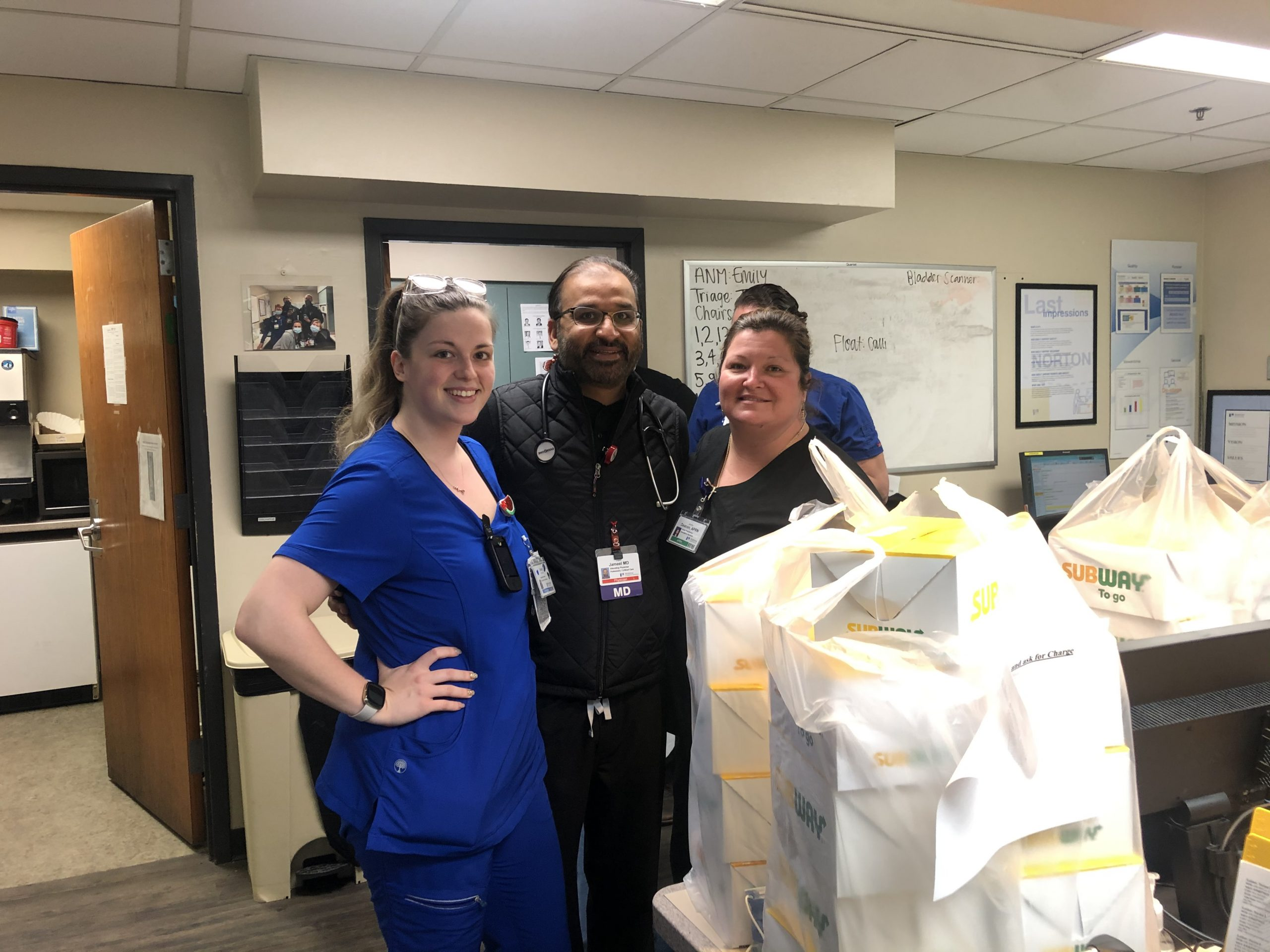 Lunch delivery at nurse station