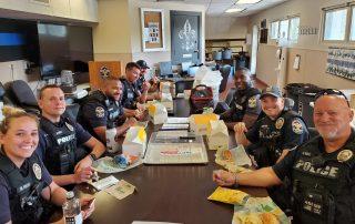 First responders enjoying their lunch